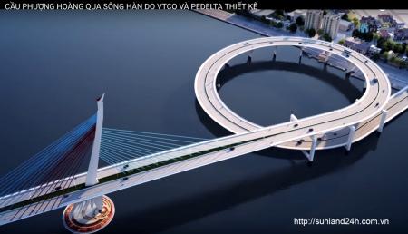 Phương án xây cầu Phượng Hoàng qua sông Hàn do VTCo và Pedelta Tây Ban Nha đề xuất